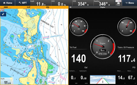 Raymarine_LightHouse_II_engine_gauges_n_NV_Chart_cPanbo.jpg