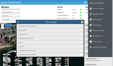 Boat Command menus