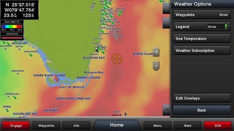 Garmin Sea Temperature Overlay Screenshot