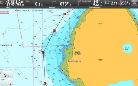 Raymarine Lighthouse r17 Dock-to-dock Autorouting west cardinal buoy