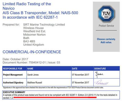 Navico NAIS-500 fails TUV certification test cPanbo.jpg