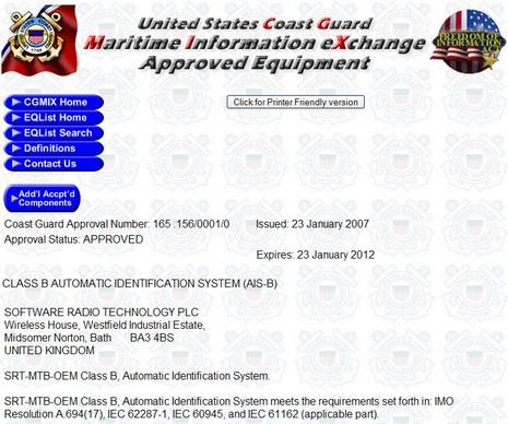 USCG SRT approval