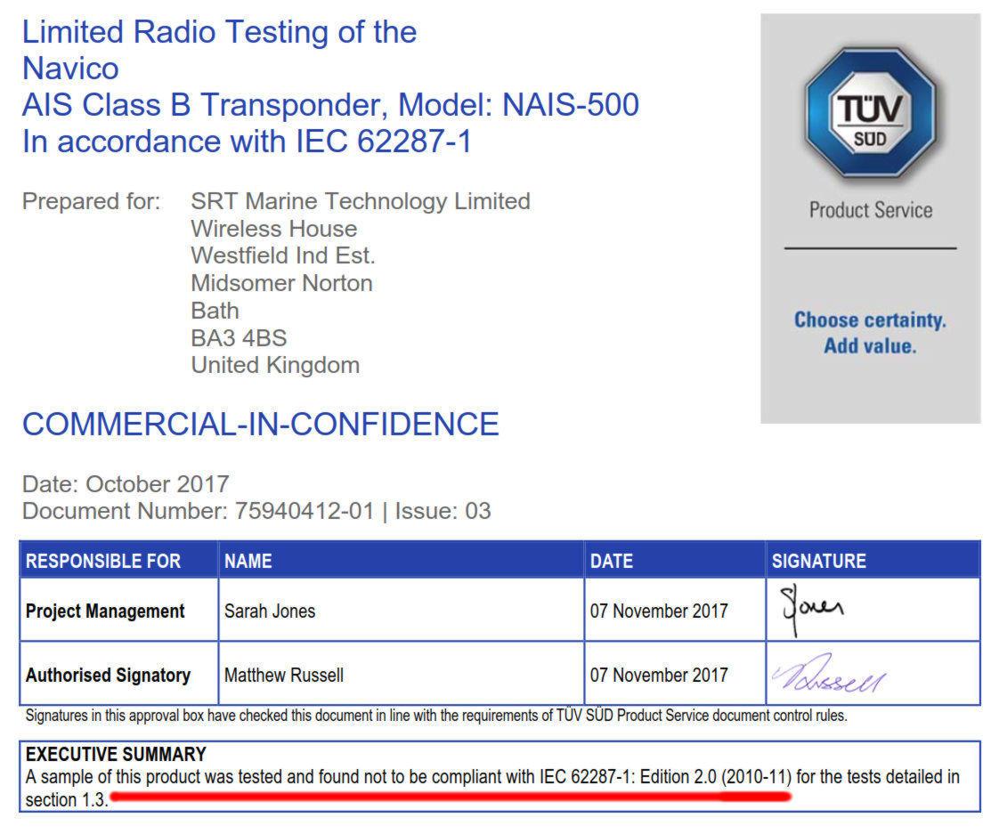 Navico Nais 500 Fails Tuv Certification Test Cpanbog